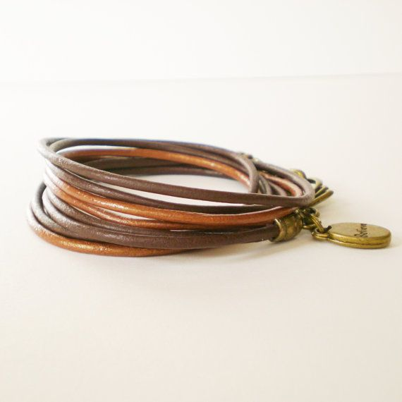 brown leather triple wrap bracelet believe charm by jcudesigns, £12.00