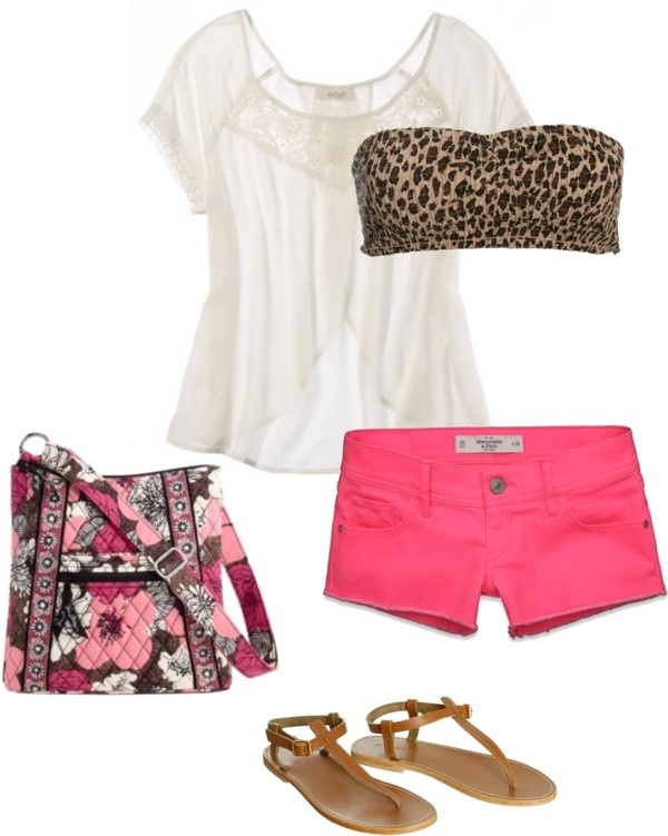 Well I already have the purse!!Pink Shorts, Prints Bandeau, Vera Bradley, Summer Outfit, Bandeau Tops, Leopards Prints, Cute Outfit, Bandeau Outfit, Leopard Prints
