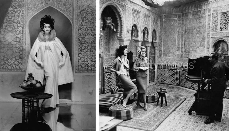Model posing in an Ottoman era palace, Beirut 1963, F.C. Gundlach; Vogue photographer Henry Clarke with two models in a Marrakech palace, early 1960's.