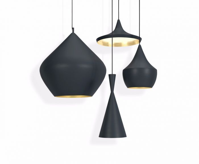 <p>Made in solid brass, the Beat Wide Black has a patina black external surface in contrast to its warm, golden interior. The Beat Light can be used in many different configurations to create a dramatic statement. Hang them individually or as a group using one or more of the shapes and one of our round or linear pendant systems.</p>