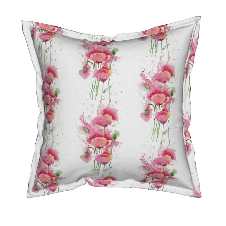 Serama Throw Pillow featuring Poppies_ by wildflowerfabrics | Roostery Home Decor