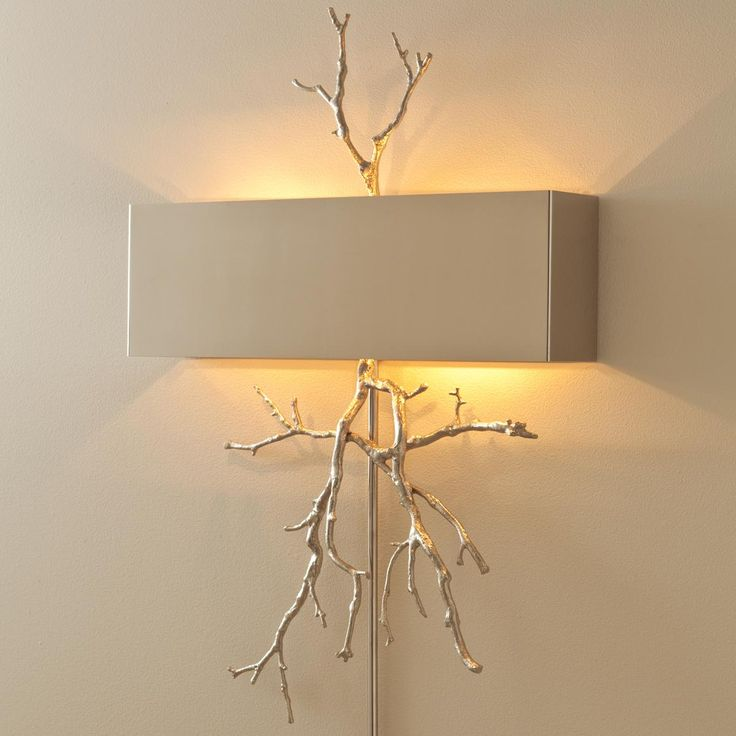 Sculptural Twig Wall Sconce Available in 2 Colors: Brass, Nickel