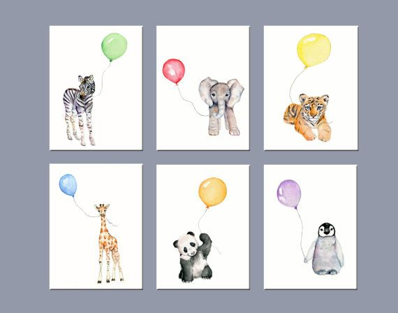 Animal prints set, nursery wall decor, zoo animal nursery art, childrens wall art, rainbow color kids room, print set, kids playroom