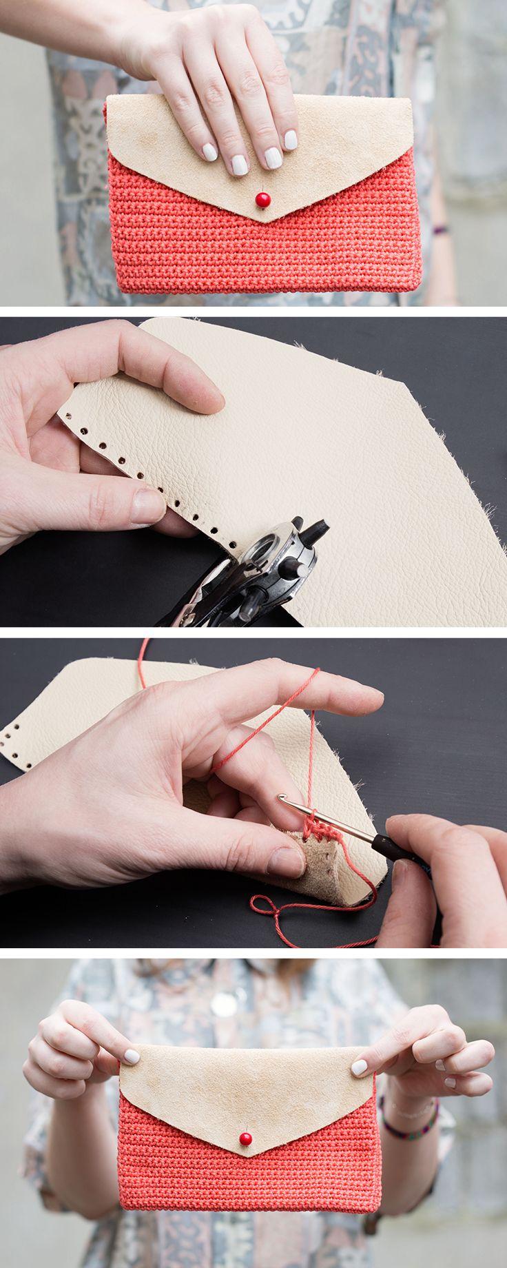Tutoriales DIY: Cómo hacer un bolso clutch de ganchillo y cuero vía DaWanda.com
