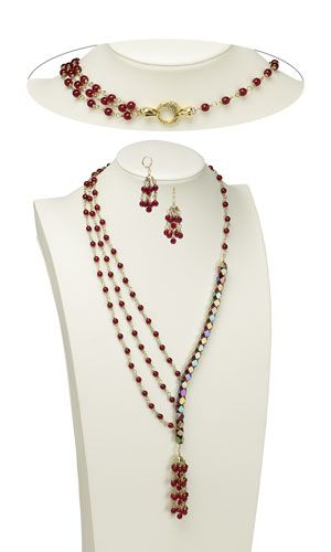 Triple-Strand Necklace and Earring Set with Glass Beads, Czech Glass Druk Beads and Gold-Finished Brass Bead Caps