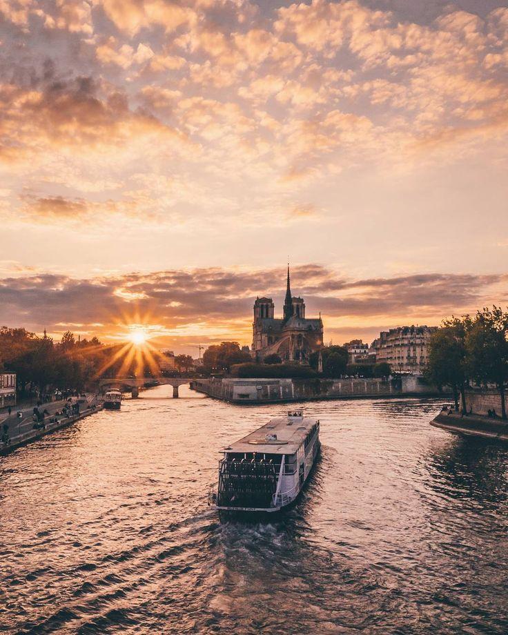 The Seine, approaching Notre Dame, Paris, France