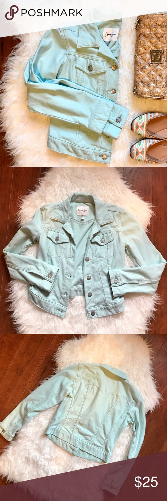 "Jessica Simpson Sky Blue Jean Jacket Make a statement with this sky blue denim jacket by Jessica Simpson. With its unique color, short cropped cut and silver signature buttons this jacket is the perfect to finish to that special outfit. Great for any time of year this Jacket is a closet must have.  Approximately  15"" Pit to Pit 17.5"" Shoulder to Hem  Also available from Covershot: Steve Madden Flats  ✅ Offers welcome through offer button ✅ Bundles welcome through bundle feature ✅ Questions…"