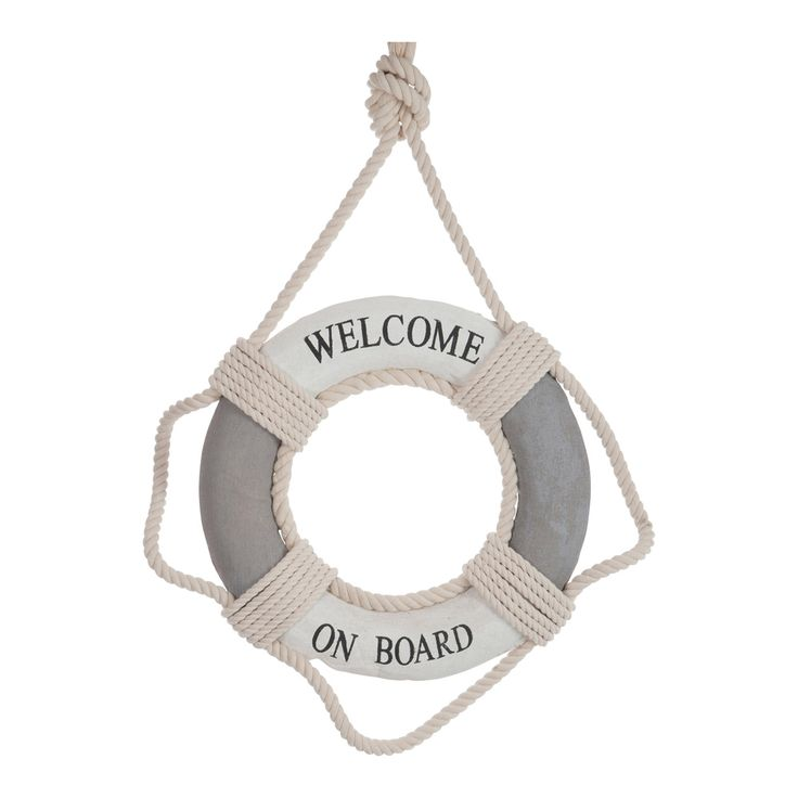 Large Grey & White Deco Lifebuoy | ACHICA