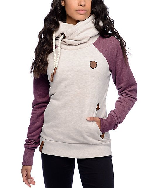The oatmeal body is paired with a pretty Bordeaux wine color for the sleeves and as always, has the awesome extended cross neck for ultimate comfort.