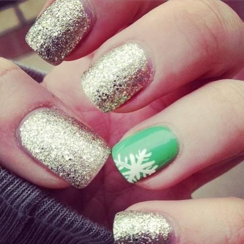 snowflake. I did this nail style for our Ohio christmas party accept my accent nail,was red