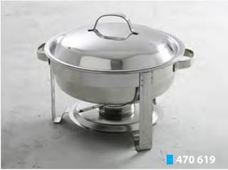 Chafing Dish Rotund; Din otel cromat; Capac lucios; Cu suport pentru combustibil chafing dish si tava din otel inoxidabil,  Ambalat in cutie colorata rotunda; Dimensiuni: Ø390 x (H)270 mm; Capacitate: 3,5 litri;