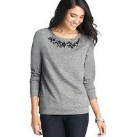 Floral Gem and Bead Embellished Sweatshirt - This always-cozy terry favorite blossoms into a true beauty with floral inspired beading at the neckline. Scoop neck. Long sleeves. Ribbed banded neckline, cuffs and hem.
