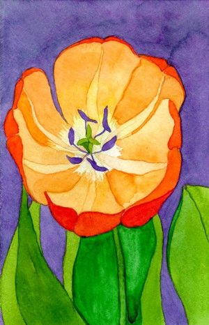Orange Tulip on violet original watercolor by RosoffArtworks, $45.00