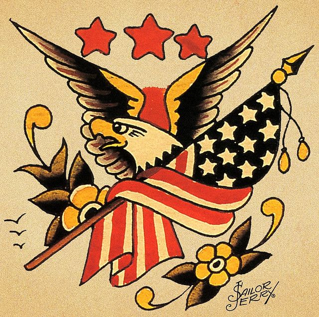 American Traditional Eagle And Flag