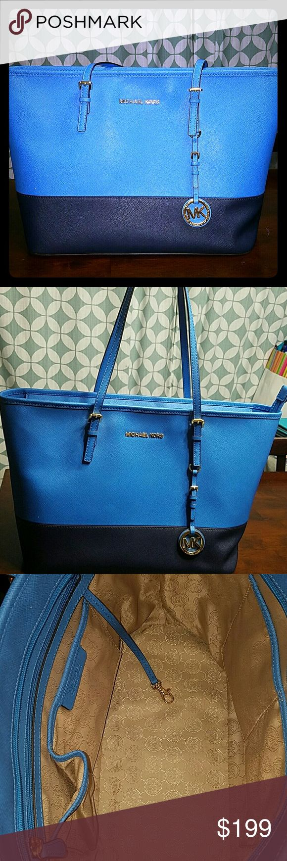 Michael Kors Tote Bag New, never used. Sky Blue with navy bottom and gold accents Michael Kors Bags Totes