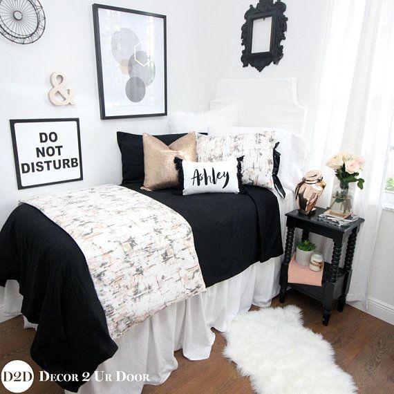Carrara Marble Black Rose Gold Dorm Bedding Dorm Bedding Set