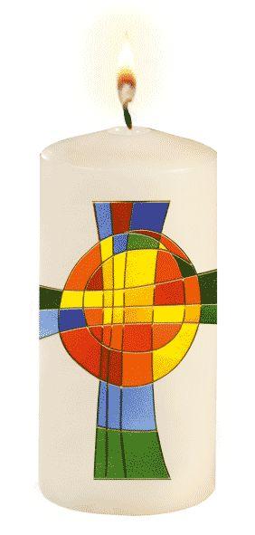Kerze mit Regenbogen-Kreuz