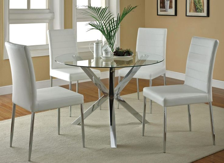 Modern Round Glass Kitchen Table Set With Comfort Chairs
