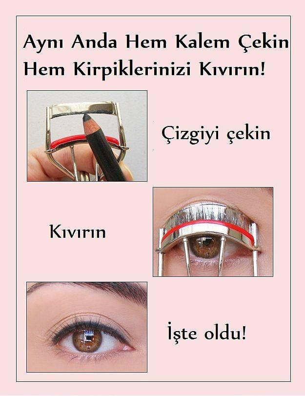 5. Mükemmel çekilmiş göz kalemi için kirpik kıvırıcınızı kullanabilirsiniz.