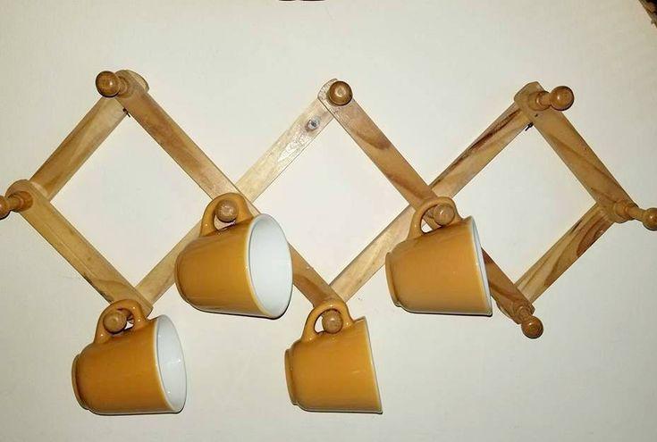 Vintage Accordion Mug Rack, Peg Rack, Wood Cup Holder, Holds 10 Mugs, Mug Holder, Cup Tree, Mug Tree, Kitchen Storage, Expandable Hat Rack http://etsy.me/2CxyBgd   #gotvintage #junkyardblonde #mugholder #cuptree #mugtree #kitchenstorage #pegrack