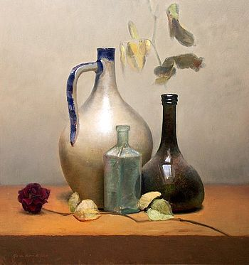 Jos Van Riswick - Still life with dried rose