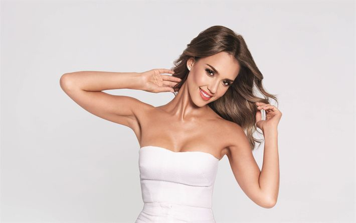 Download wallpapers 4k, Jessica Alba, 2017, Hollywood, movie stars, beauty, american actress, white dress