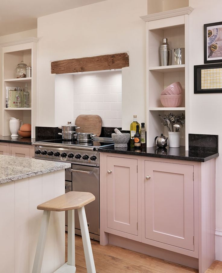 Shaker kitchen by John Lewis of Hungerford, in their Blossom pink paint finish