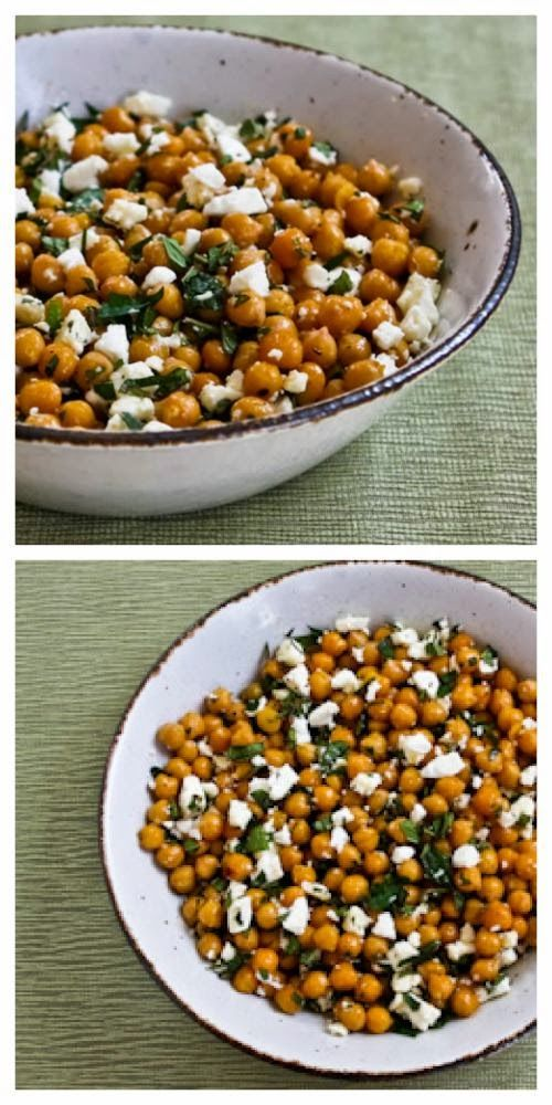 Garlicky Roasted Chickpeas (Garbanzo Beans) with Feta, Mint, and Lemon; amazing as a side dish or #MeatlessMonday main dish!  [from KalynsKitchen.com]