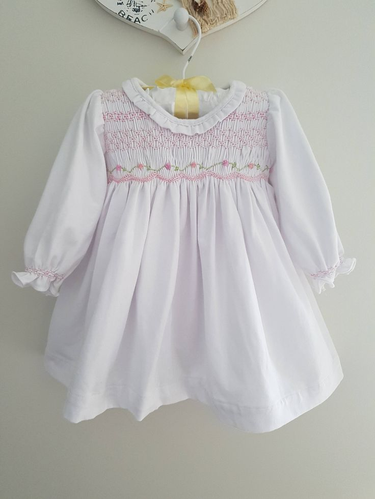 White Cotton Knit Hand Smocked Dress with Embroiderey by LittleSmock on Etsy