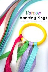 How to make beautiful rainbow dancing rings with ribbons are lots of fun for kids to play with.