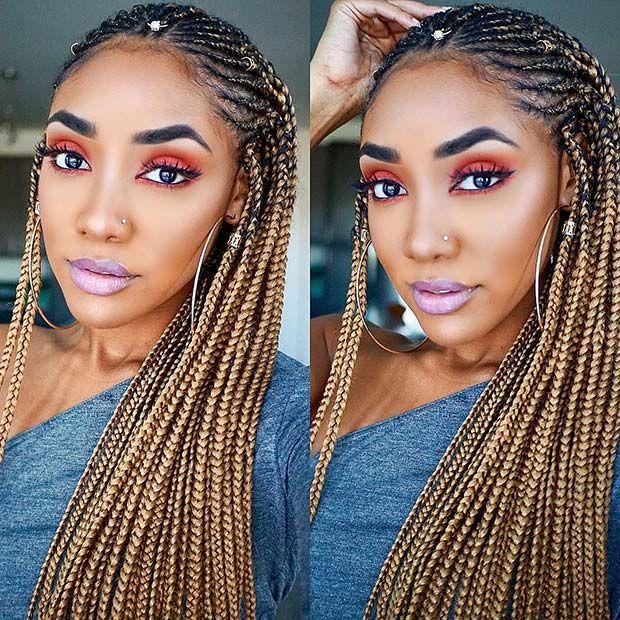 Blonde Fulani Braids Braided Hairstyles Box Braids Hairstyles Blonde Box Braids