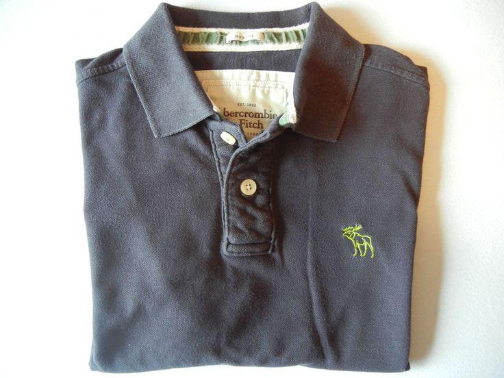 Original Abercrombie & Fitch Herren Polohemd mit Elch-Logo in Gr. L Cotton dunke