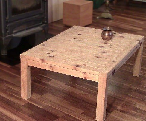"To get an overview please watch the video.First, sorry for my English!This coffee table was made by a 2""x4"" (5cm x 10cm) and 8 feet (240cm) long. I know it is a wrong 2x4 because it is 2""x 4"" and a real 2x4 is not 2""x 4""The wood I used was Swiss pine, in German ""Zirbe"". It smells pretty good, so I decided not to use any wood finish."