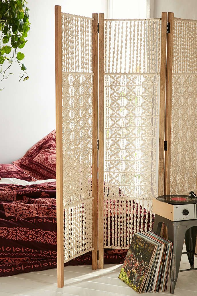 Macrame folding screen. Would be a very long DIY but rewarding