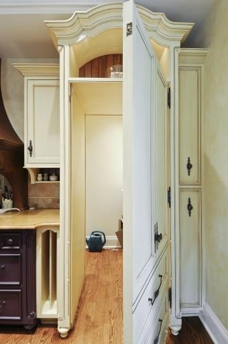 Cute Hidden Door Ideas Image Decor In Kitchen Eclectic Design With Apron Sink Ceiling Copper Eggplant Feature Granite Hardwood Floor