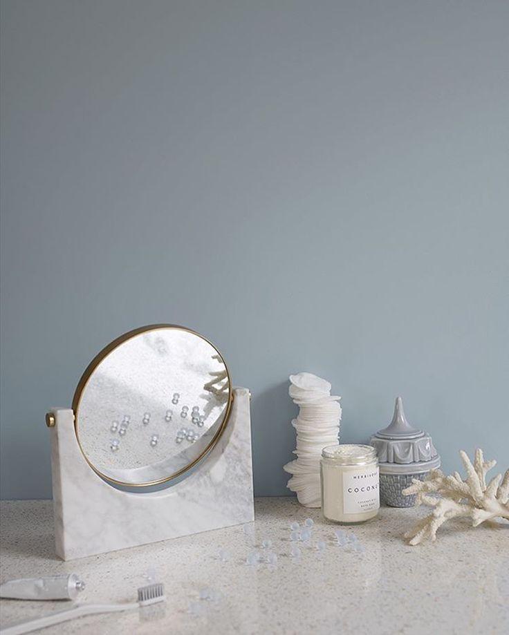MENU Pepe Marble mirror in Jotun Lady Campaign styled by Krakvik D´Orazio. Jotun LADY col. Aqua 4423