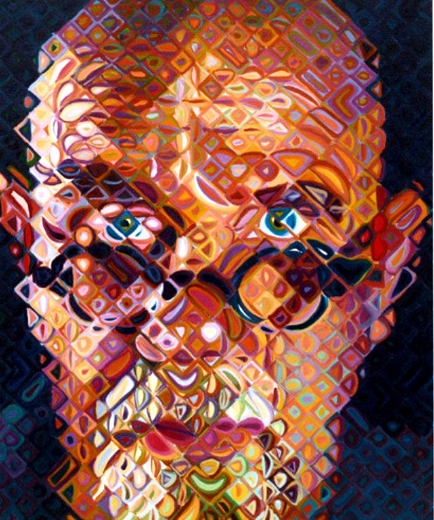 Chuck Close self portrait detail  This is part of Chuck's work, where he used a grid to make a portrait of himself and vivid changing colors.