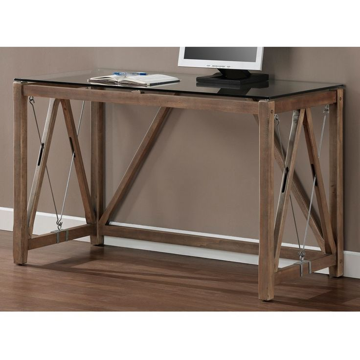 love this style of desk... glass top cable desk from overstock $249.99
