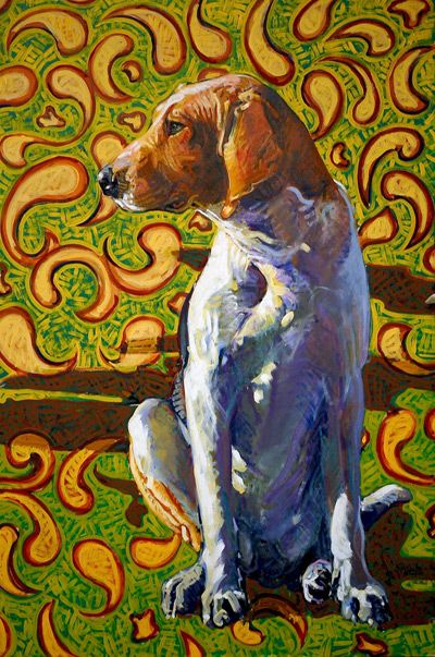 dog art, pictures of dogs, hounds, Leslie Shiels art