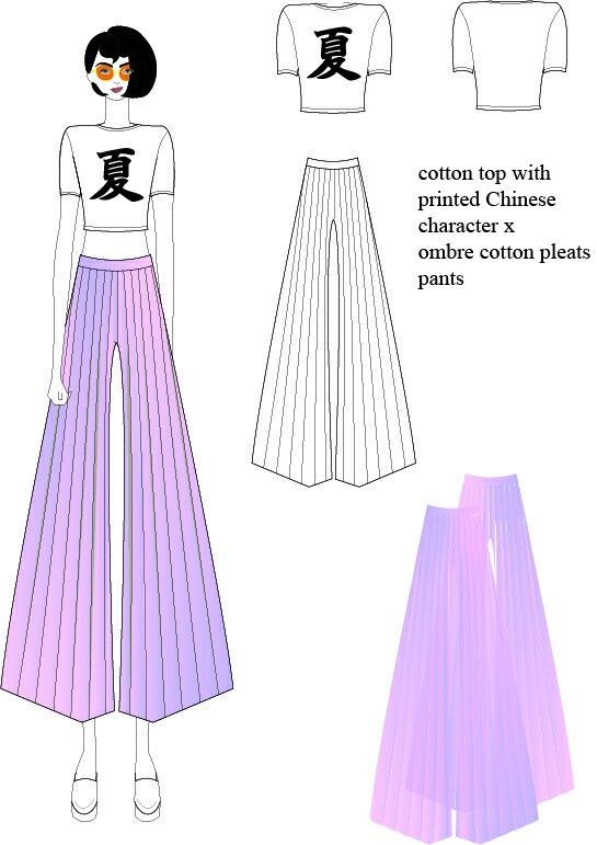 Summer look_cotton top with printed Chinese character x ombre cotton pleats pants