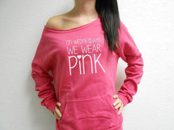 On Wednesdays We Wear Pink Eco Fleece Sweatshirt. Mean Girls Sweatshirt. Off Shoulder Sweatshirt. Raw Edge Off Shoulder Eco-Fleece.