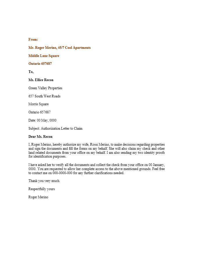 Authorization Letter Format For Passport Authorization Letter