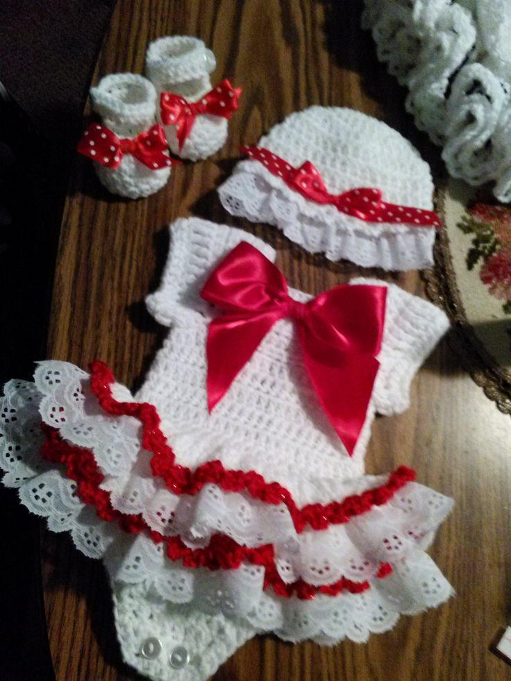 Red and white crochet onsie with lace. by BabyBeautiful801 on Etsy