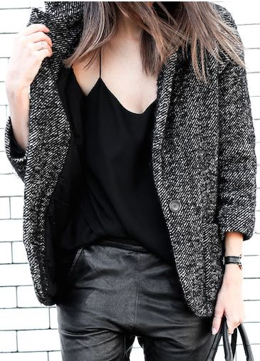 black and white tweed jacket, cami and leather pants