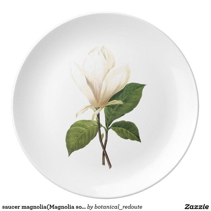 saucer magnolia(Magnolia soulangiana) by Redouté Porcelain Plate