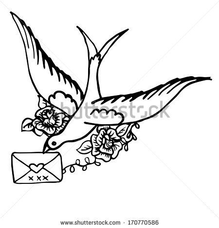 Bird with a letter. Hand drawn sketch - stock vector