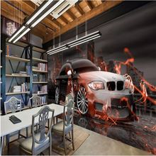 beibehang Custom wallpaper city hotel catering industry decoration background wall BMW sports car tooling background painting(China (Mainland))