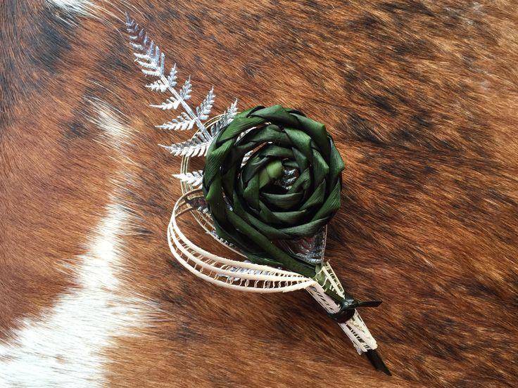 Koru & fern buttonholes by Flaxation. www.flaxation.co.nz