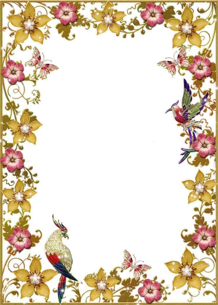 Flowers Birds And Butterflies Floral Photo Frame Floral