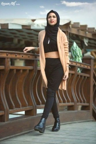 tan long cardigan hijab style, Hijab trends from the street…
